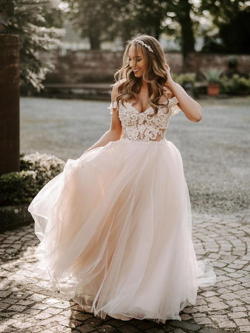 Ericdress Appliques Court A-Line Floor-Length Hall Wedding Dress 2020