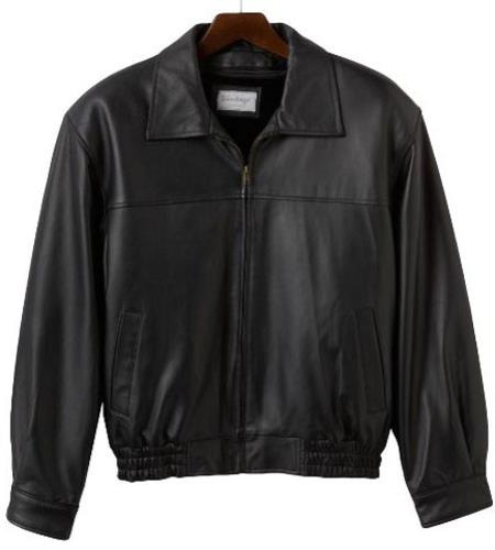 Mens Lamb Leather with Zip-Out Liner Bomber Jacket Black