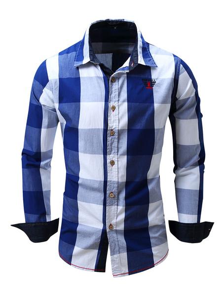 Milanoo Camisa de cuadros escoceses de algodon 100% regular fit para hombre