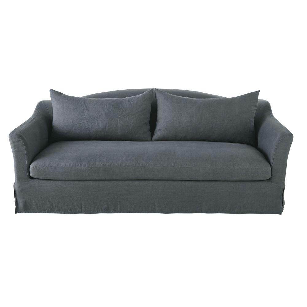 4-Sitzer-Schlafsofa mit Bezug aus gewaschenem Leinen, anthrazitgrau Anaelle