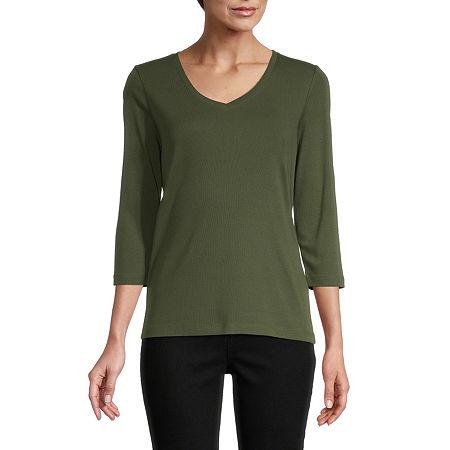 St. John's Bay-Womens V Neck 3/4 Sleeve T-Shirt, X-large , Green
