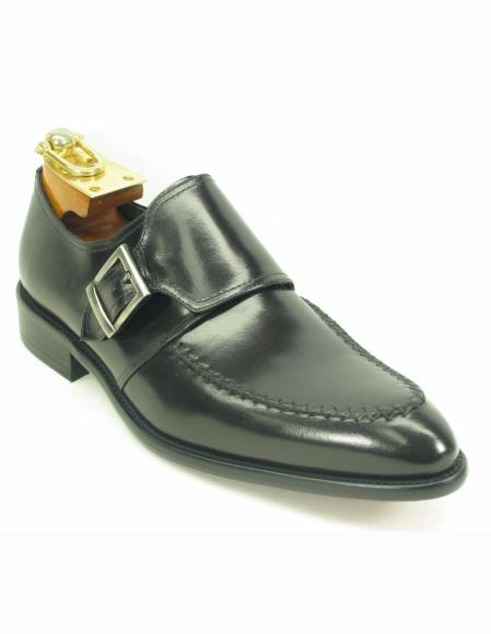 Men's Black Fashionable Leather Single Buckle Style Slip On Shoes