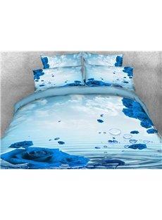 Vivilinen 3D Dewy Blue Rose Printed Cotton 4-Piece Bedding Sets/Duvet Covers