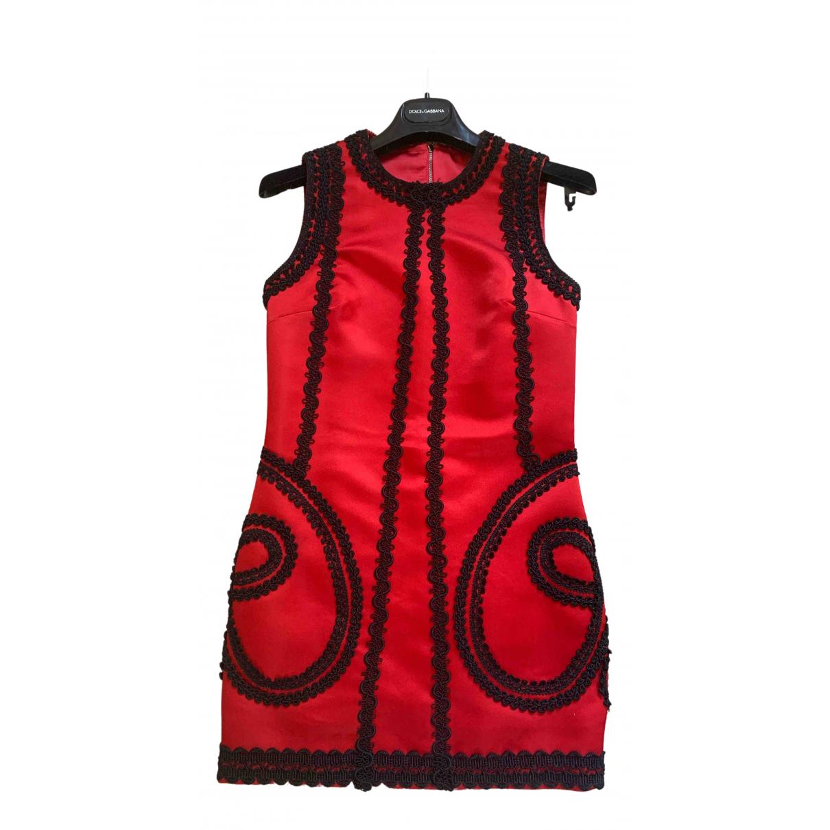 Dolce & Gabbana - Robe   pour femme en soie - rouge