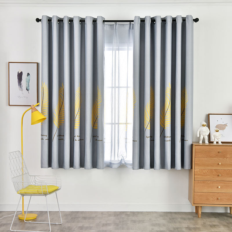 Simple Design Cloth and Voile Sewing Togethe Blackout Curtain Sets