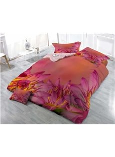 Blooming Red Flowers Wear-resistant Breathable High Quality 60s Cotton 4-Piece 3D Bedding Sets