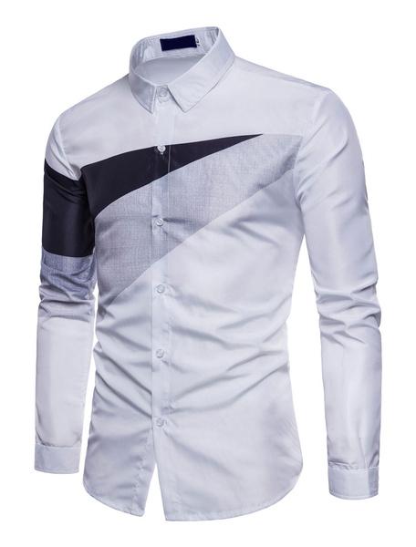 Milanoo Camisas casuales de algodon mezclado de cuello vuelto con manga larga de dos tonos estilo modernoPrimavera