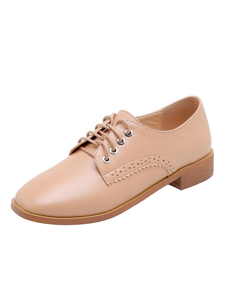 Milanoo Women\'s Oxfords Square Toe Lace Up Flat Casual Shoes