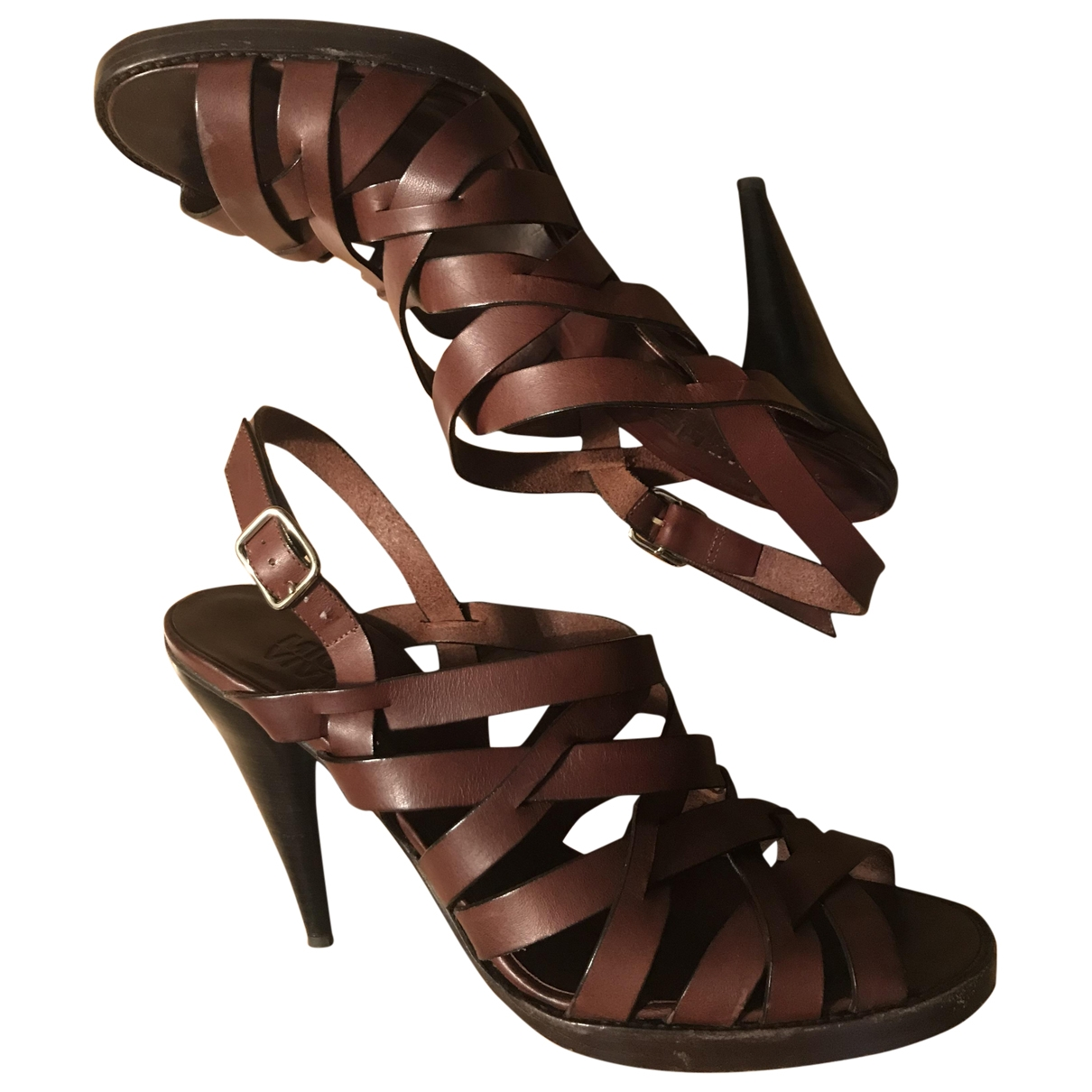 Michel Vivien \N Brown Leather Sandals for Women 40 EU