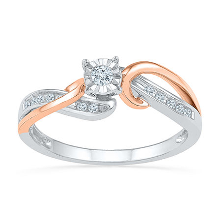 Promise My Love Womens 1/8 CT. T.W. Genuine White Diamond Sterling Silver Round Promise Ring, 7 , No Color Family