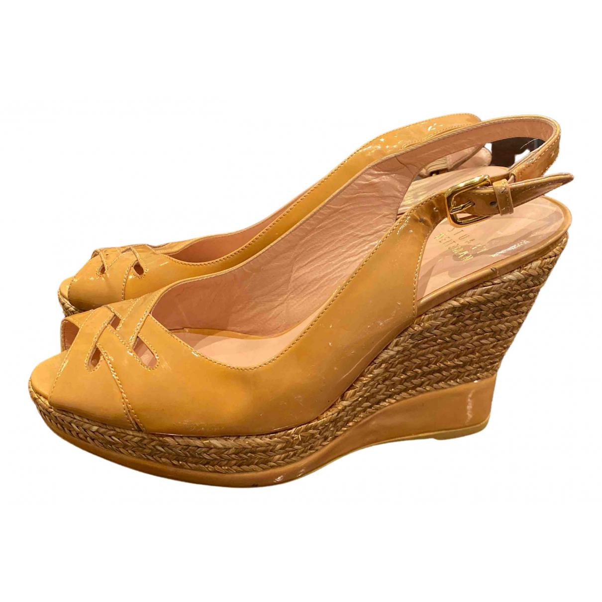 Stuart Weitzman N Beige Leather Sandals for Women 7 UK