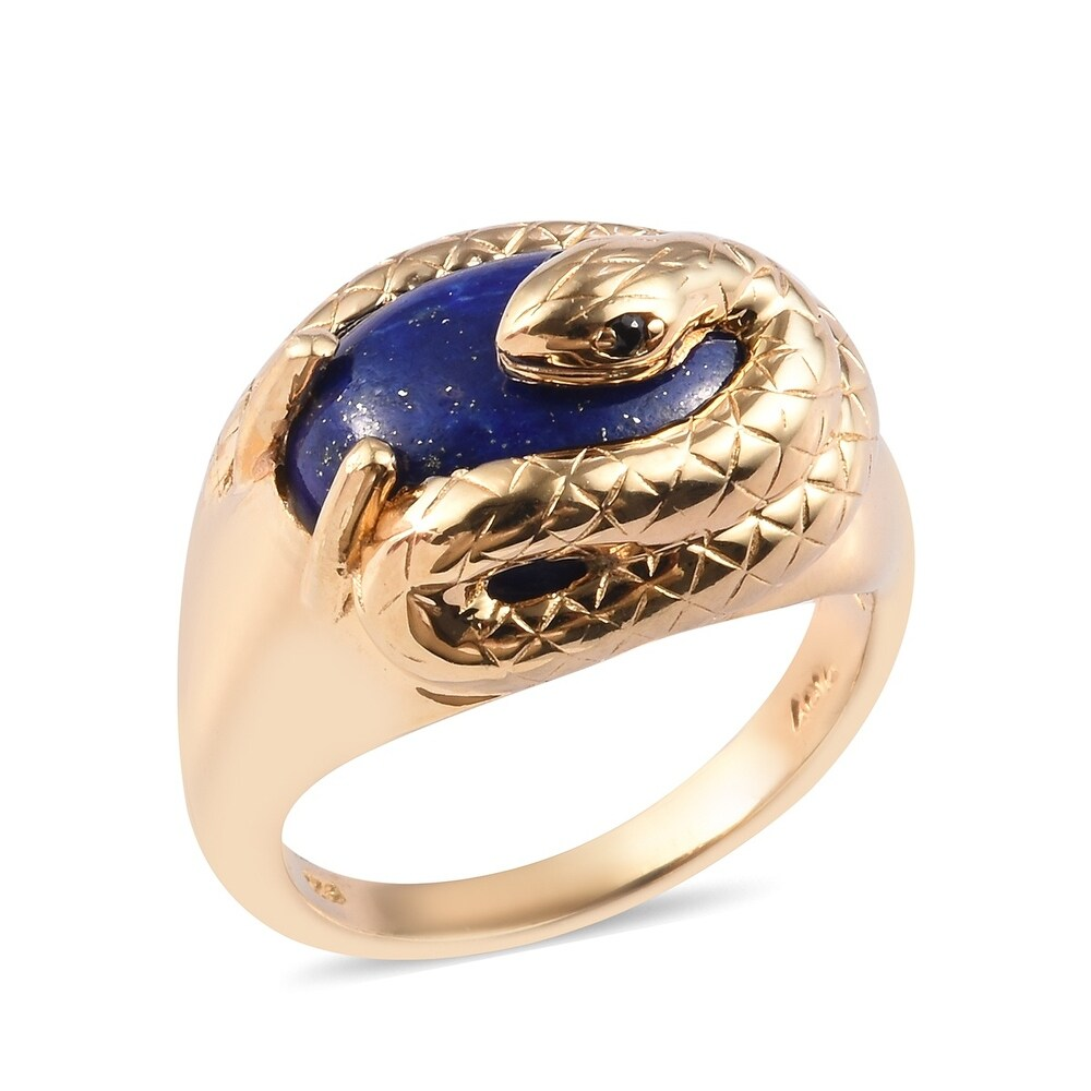 Sterling Silver Lapis Lazuli Black Spinel Ring Size 10 Ct 10.5 - Ring 10 (Blue - Lapis - Blue - Yellow - Ring 10)