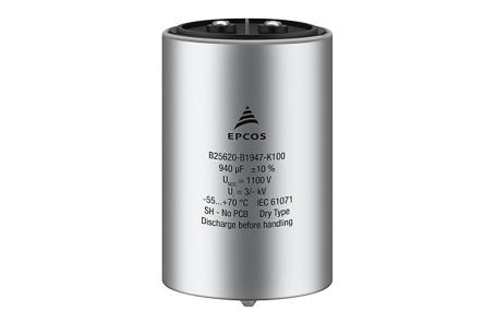 EPCOS TDK 480μF Power Electronic Capacitors (PEC) 1.1kV dc ±10% Tolerance Stud Mount B2562 Series (64)