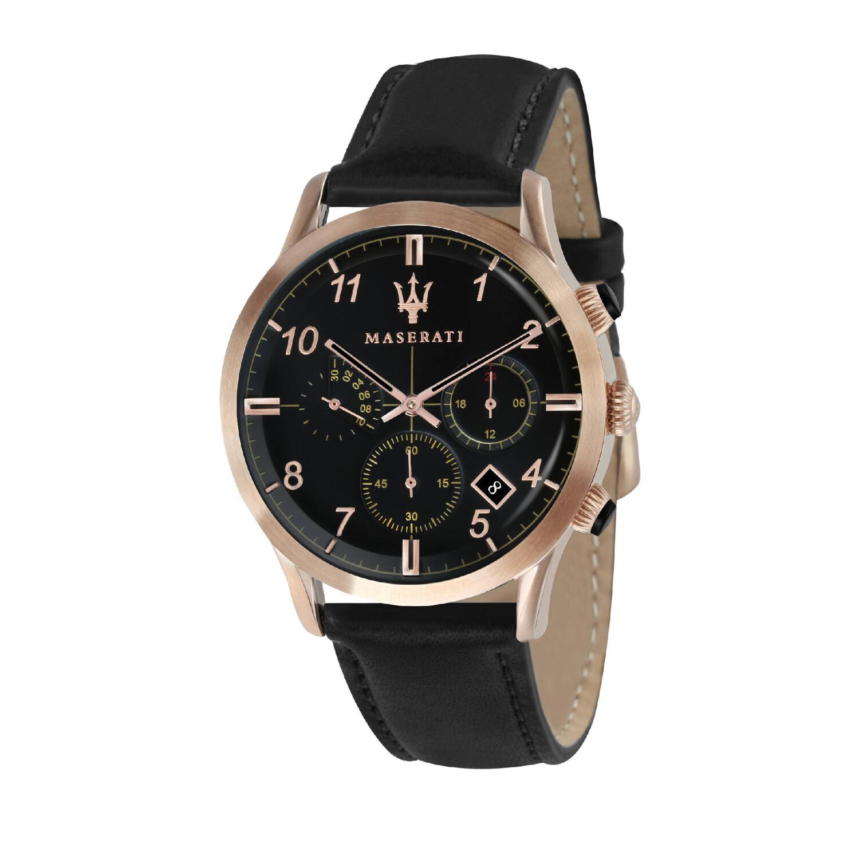 Maserati Men's Ricordo R8871625004 Black Leather Quartz Fashion Watch