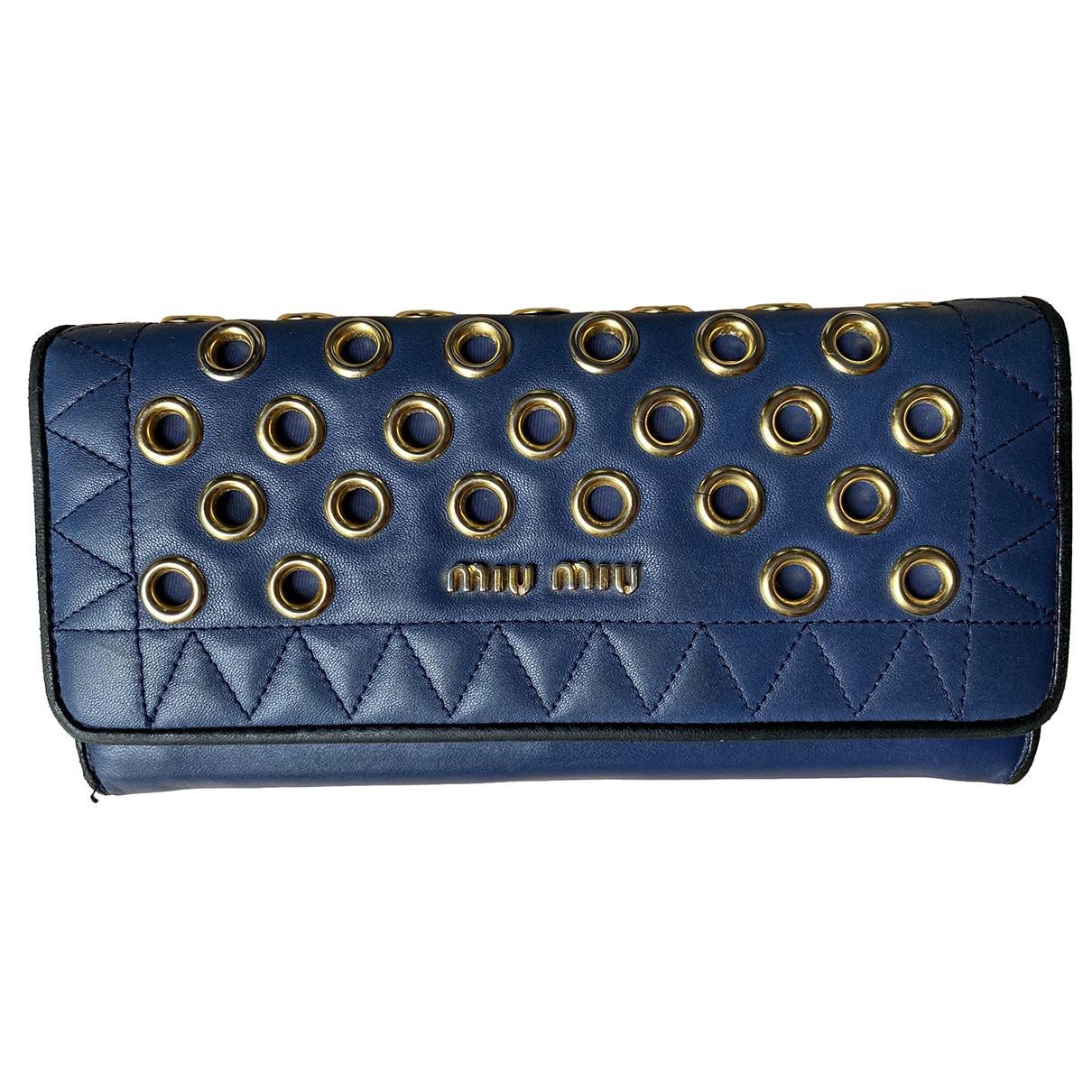 Miu Miu \N Portemonnaie in  Blau Leder