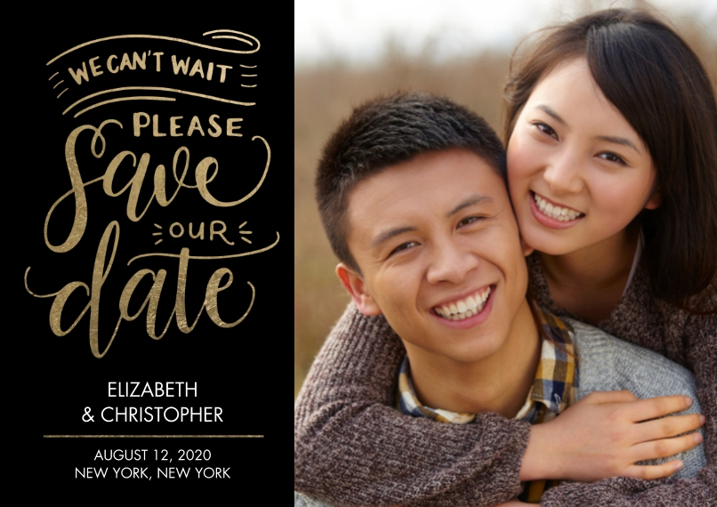Save the Date 5x7 Cards, Premium Cardstock 120lb with Scalloped Corners, Card & Stationery -Save the Date Cant Wait