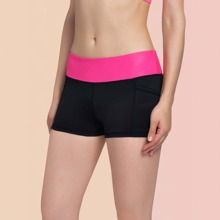 Vutru Letter Graphic Colorblock Wide Waistband Sports Shorts