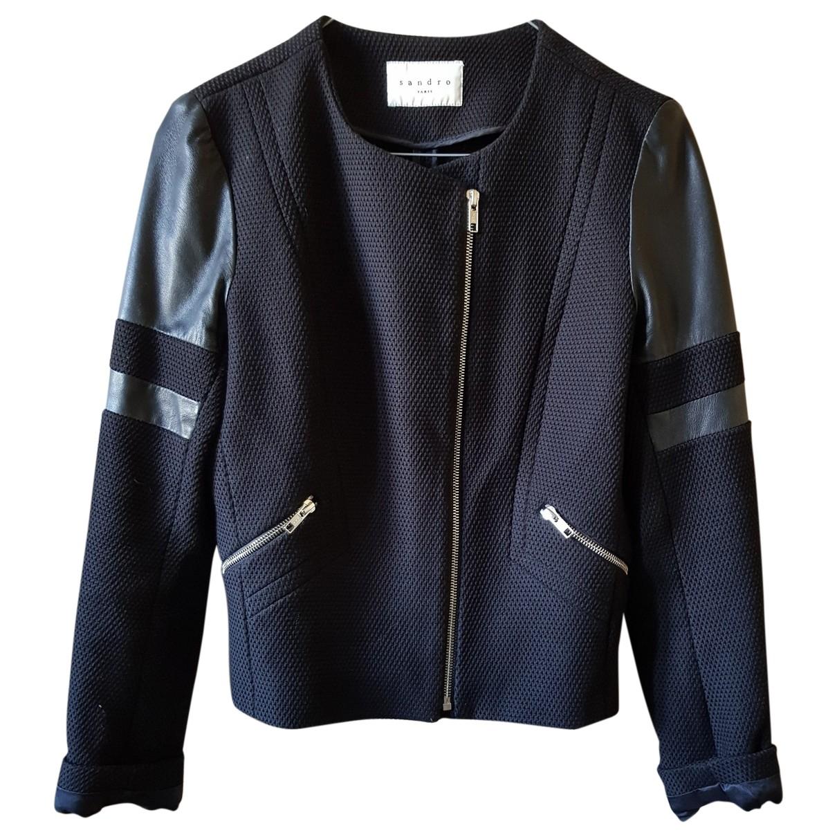 Sandro \N Black Cotton Leather jacket for Women 36 FR