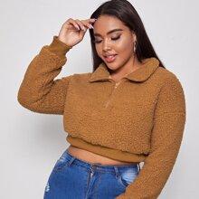 Plus Half Zip Crop Teddy Sweatshirt