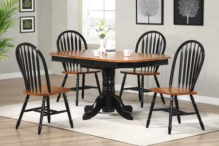 Sunset Selections Collection DLU-TCP3660-820-BCH5PC 5 Piece Dining Set with Oval Table + 4 Arrowback