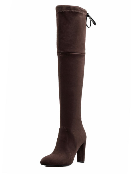 Milanoo Thigh High Boots Womens Micro Suede Lace Up Round Toe Chunky Heel Over The Knee Boots