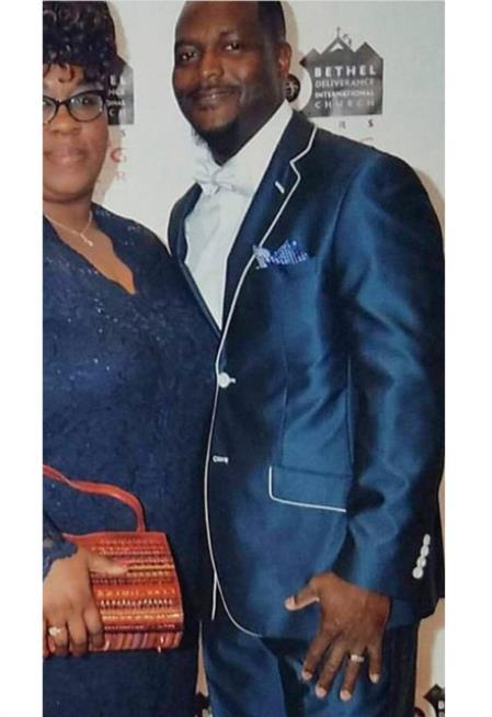 Mens Blue Trim Lapel Tuxedo Looking Suit Lapel Side Vented Wedding