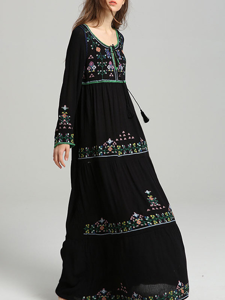 Milanoo Boho Dress Embroidered Jewel Neck Long Sleeves Summer Dress