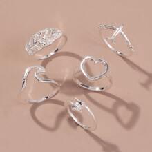5 Stuecke Ring mit Herzen Dekor
