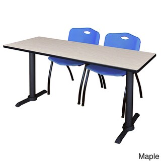 Regency Seating Cain Black 72-inch Training Table With 2 Blue 'M' Stack Chairs (Maple)