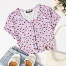 Ditsy Floral Rib-knit Button Placket Tee