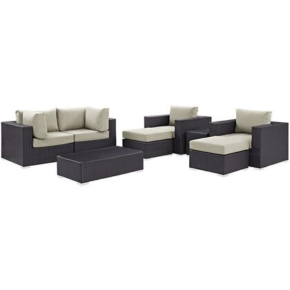 Convene Collection EEI-2206-EXP-BEI-SET 8-Piece Outdoor Patio Sectional Set with 2 Corner Sections  2 Armchairs  2 Ottoman  Side Table and Coffee