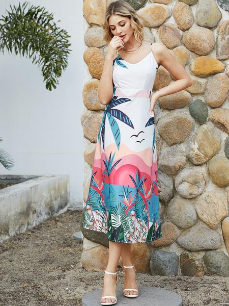 YOINS White Backless Tropical V-neck Sleeveless Dress