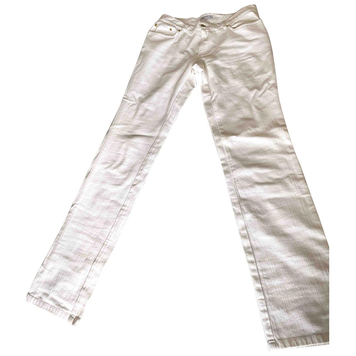 Agnès B. N White Cotton Trousers for Women 38 FR