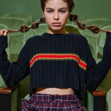 Striped Crop Ribbed Knit Sweater