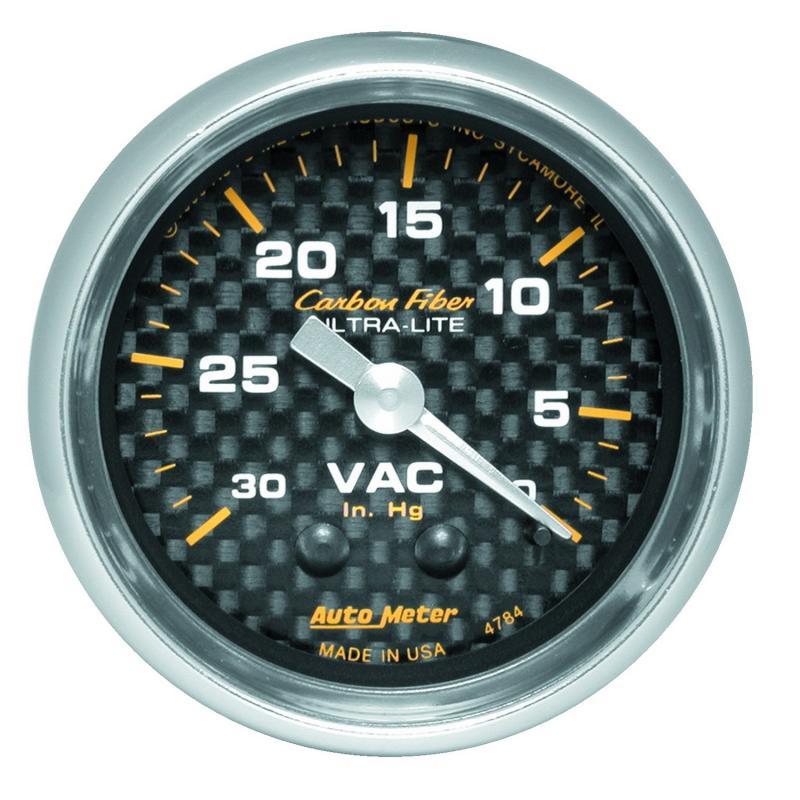 AutoMeter GAUGE; VACUUM; 2 1/16in.; 30INHG; MECHANICAL; CARBON FIBER