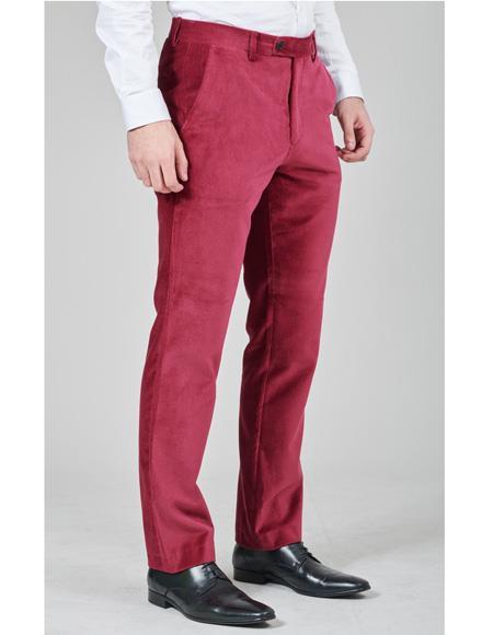 Mens Burgundy Flat Front Pant 1 Cotton