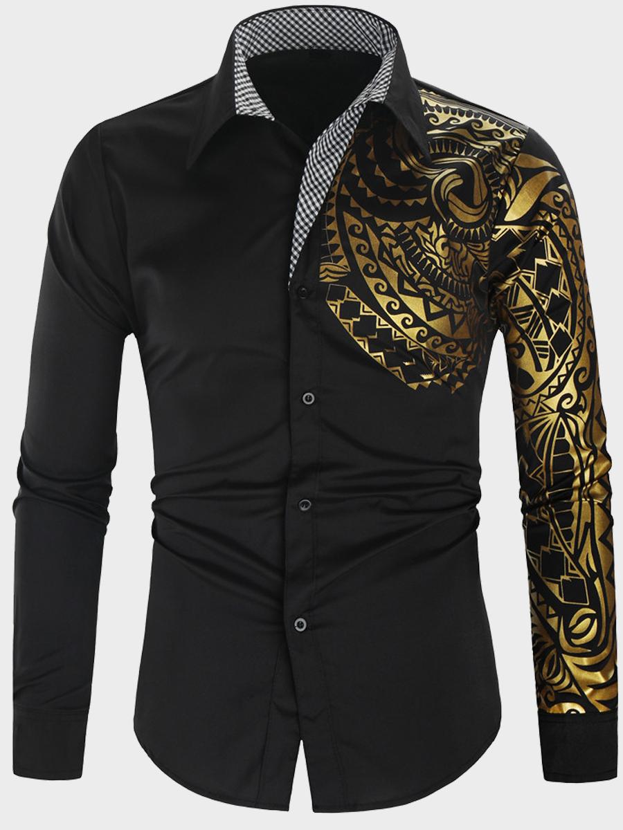 LW lovely Trendy Turndown Collar Print Black Men Shirt
