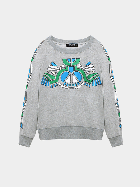 Yoins Plus Size Grey Geometrica Print Sweatshirt