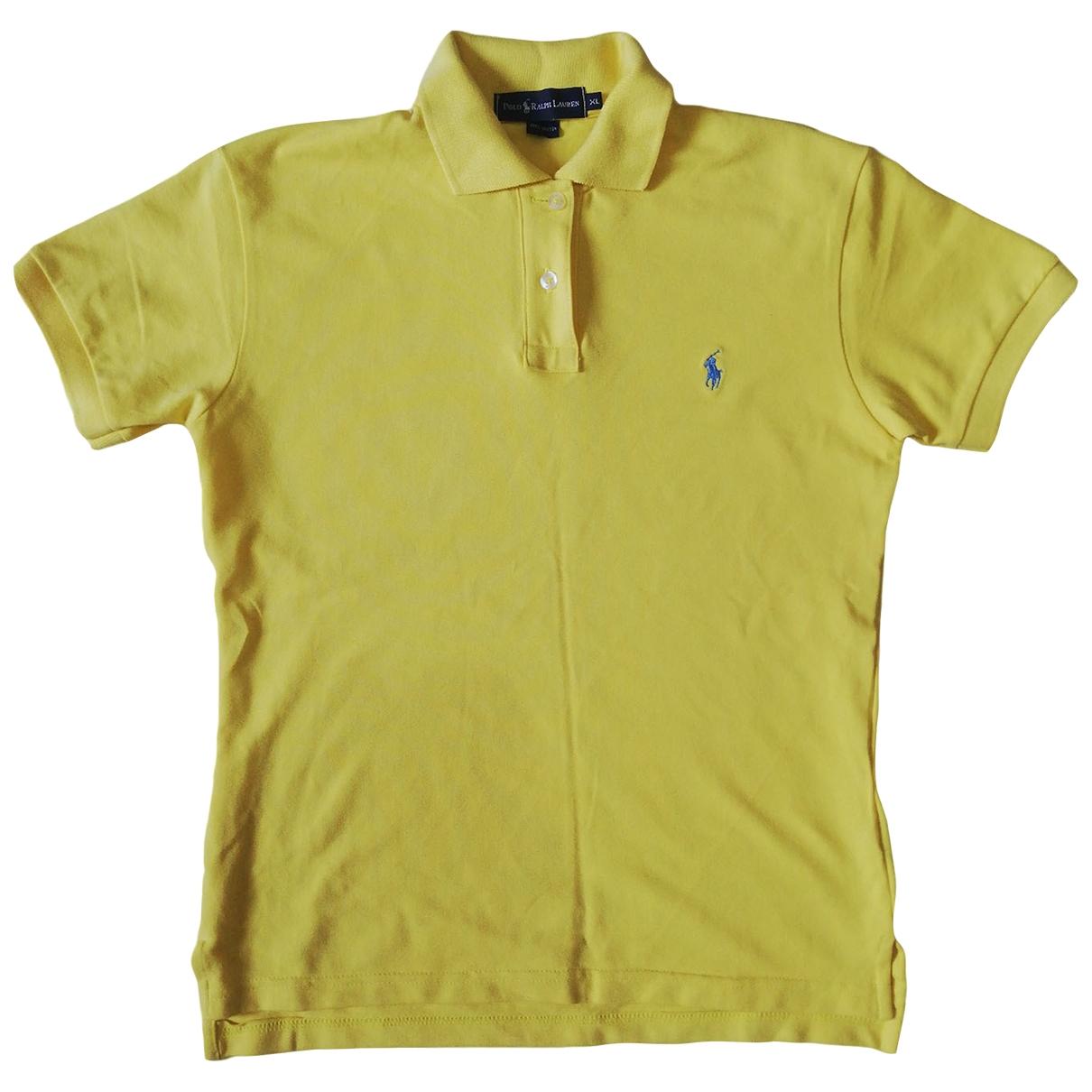Polo Ralph Lauren - Top Polo ajuste manches courtes pour femme en coton - jaune