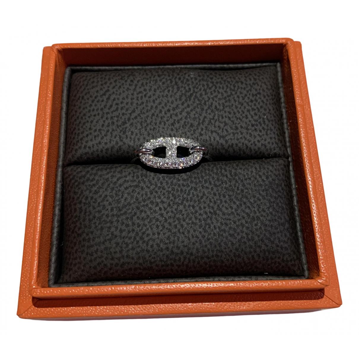 Hermes - Bague Chaine dAncre pour femme en or blanc - argente