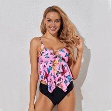 Bikini Badeanzug mit Schmetterling Muster und asymmetrischem Saum