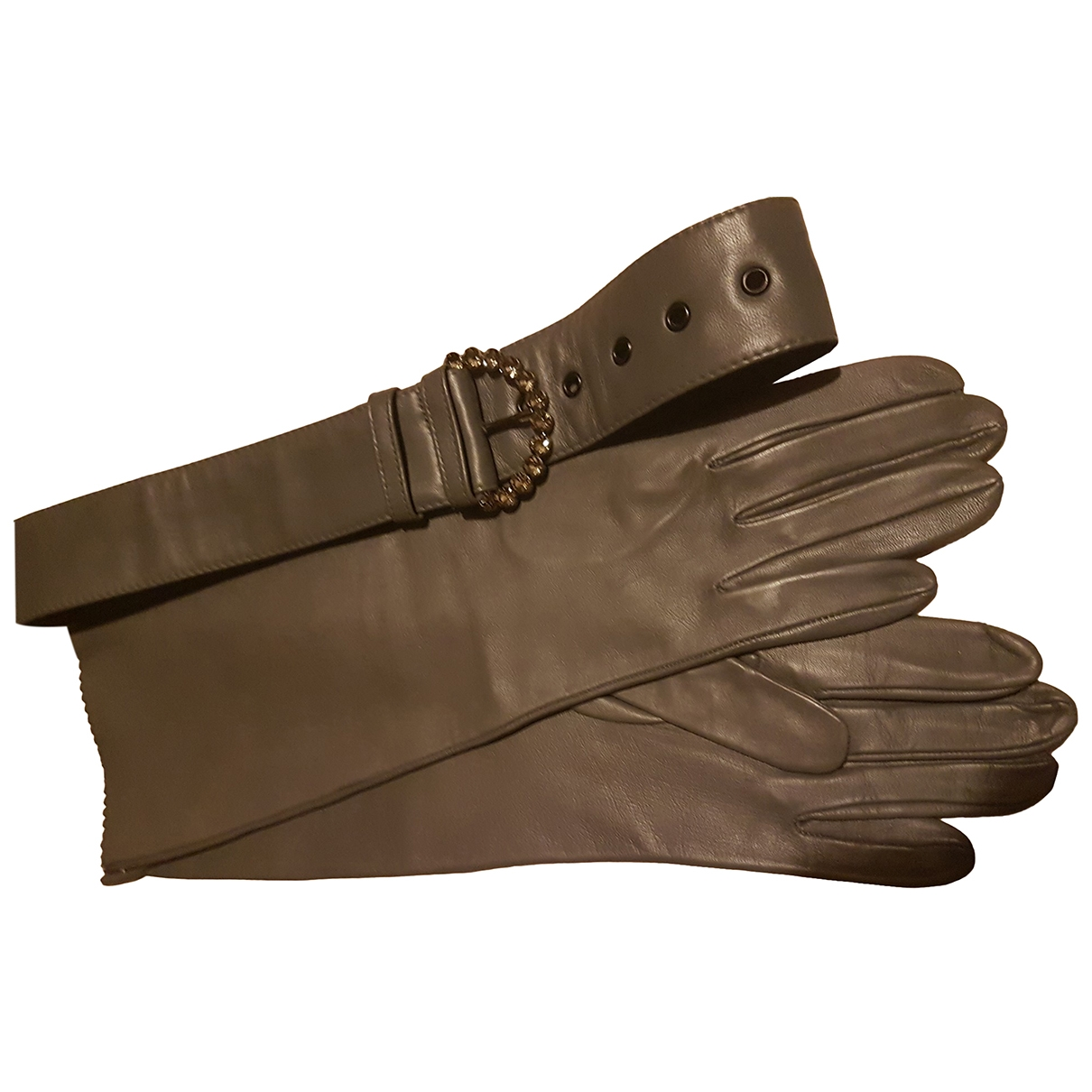 Non Signe / Unsigned \N Handschuhe in  Grau Leder