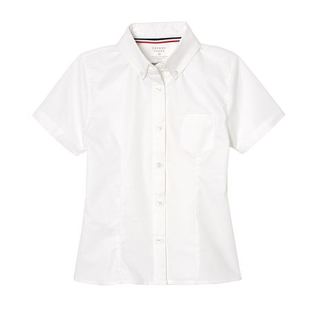 French Toast Little & Big Girls Short Sleeve Wrinkle Resistant Blouse, 14.5 Plus , White