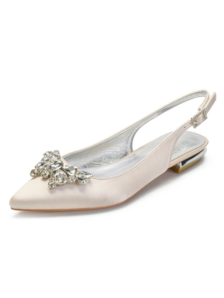 Milanoo Wedding Shoes Satin Silver Pointed Toe Rhinestones Flat Sling Back Wedding Shoes