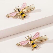 2 Stuecke Haarklammer mit Biene Dekor