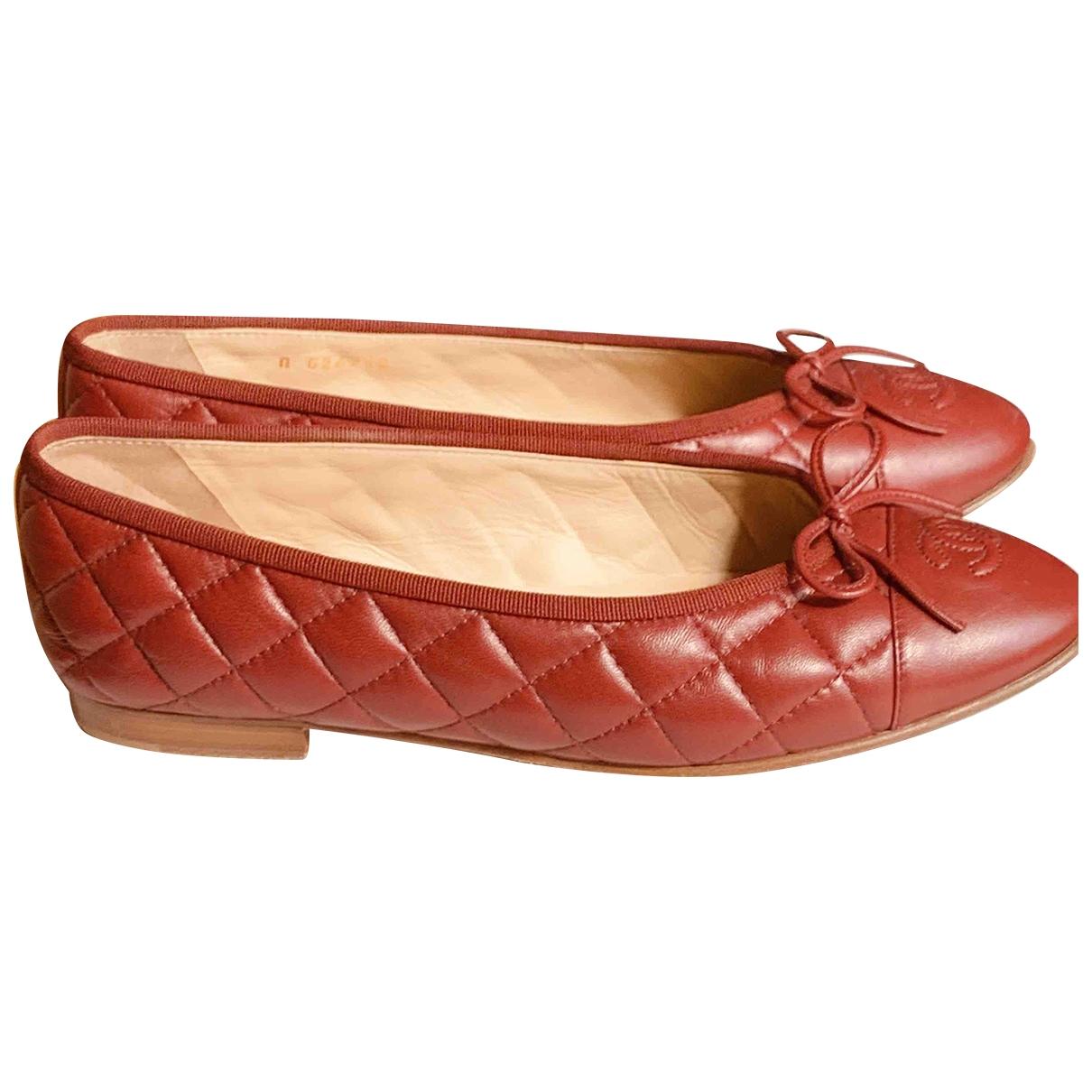 Chanel - Ballerines   pour femme en cuir - bordeaux