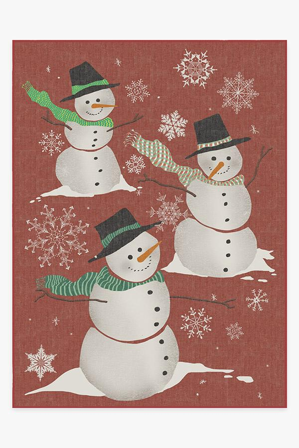 Washable Rug Cover & Pad | Snowman Rug | Stain-Resistant | Ruggable | 9'x12'