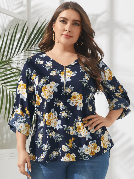 YOINS Plus Size V-neck Floral Print Zip Front Long Sleeves Blouse