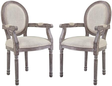 Emanate Collection EEI-3465-BEI Set of 2 Dining Armchairs with Louis XVI Design  Dense Foam Padding  Vintage French Style  Fluted Solid Wood Frame