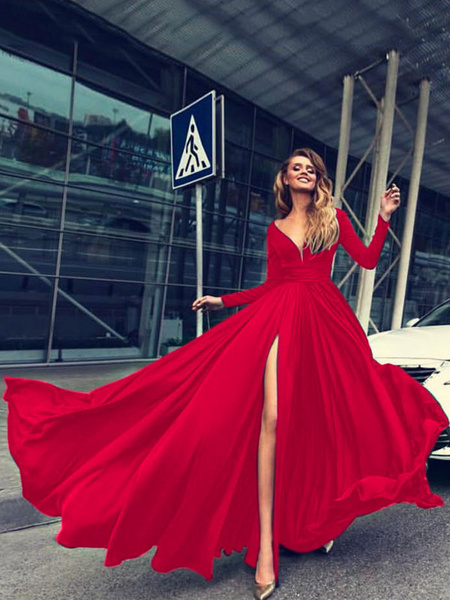 Milanoo Maxi Dress Red Long Sleeve V Neck High Split Buttons Formal Dress For Women